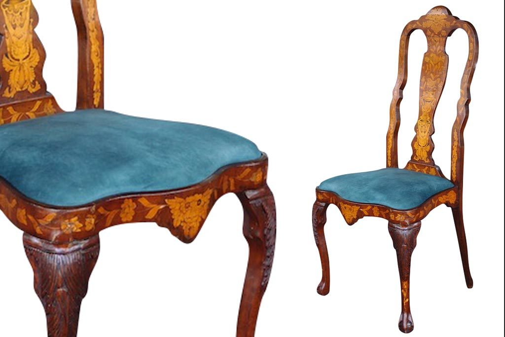 C1860 Set 4 Dutch Marquetry Chairs