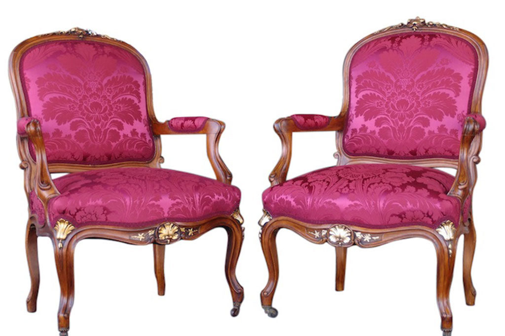 C1870 French Napoleon III Walnut Fauteuil Armchairs