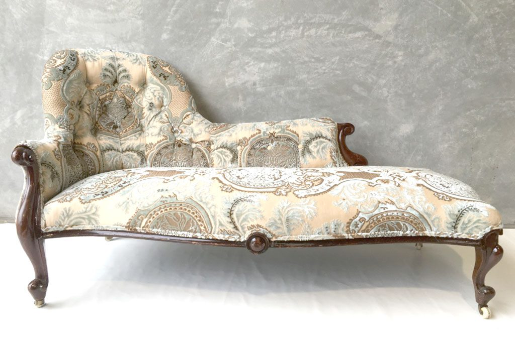 Antique Furniture upholstery: Victorian Buttoned Back Chaise Lounge